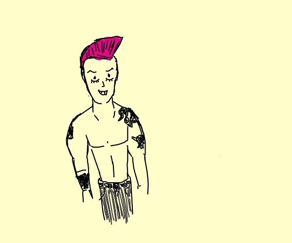 Topless punk guy with pink hair