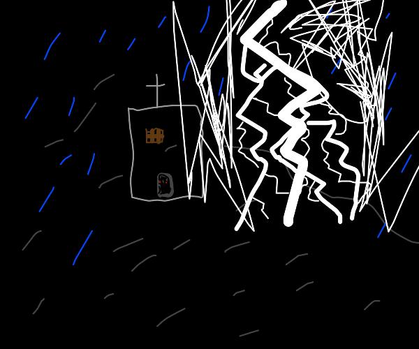 Spooky church in a rainstorm