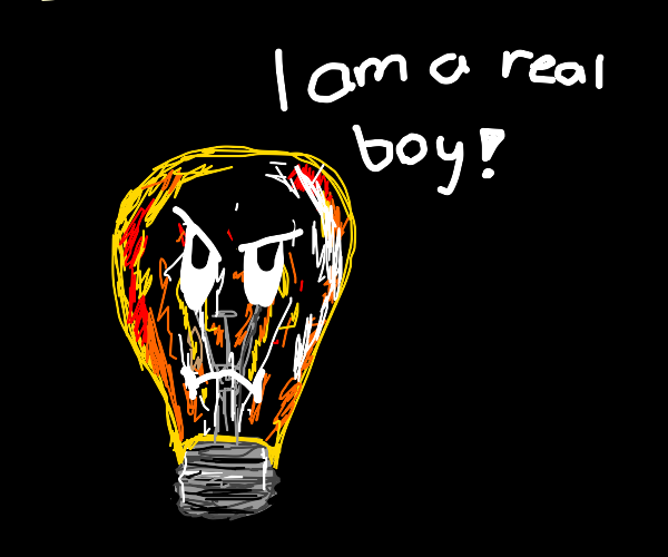 Light bulb man is a real boy