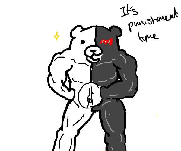 Danganronpa bear, but it's super buff