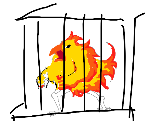 flaming chicken in a cage