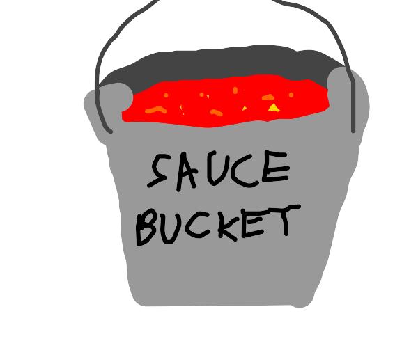 Bucket of pasta sauce