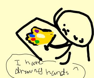 Artist draws a hand