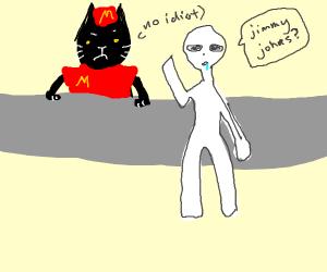 fat black cat works at mcdonalds