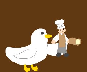 Duck holding Baker