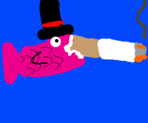 fish in a top hat smoking a HUGE cig