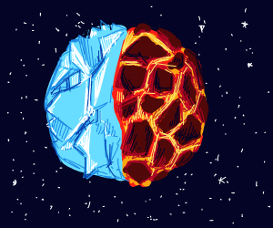 A planet that's half lava half ice