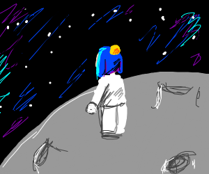 a boy in space without a helmet