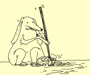 Dog with long ears needs to mop