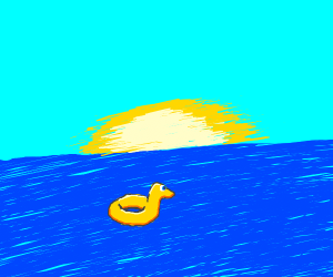 DUCK IN A RING FLOATING IN THE SEA