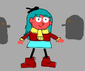 Girl with teal hair