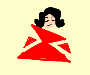 Girl in a triangular red dress