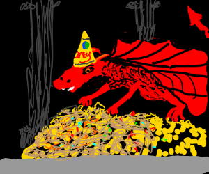 Dragon in party hat