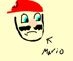 sad Mario put his cap on wrong.