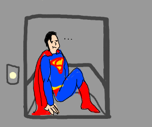 Superman takes the elevator