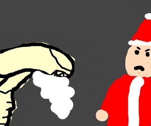 Xenomorph steals Santa's beard