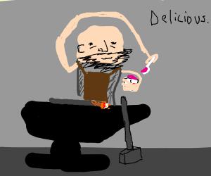 Blacksmith eating Yogurt