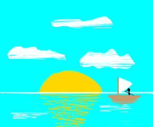 Man on a sailboat on a sunny day