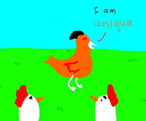 A chicken Saing that he is unique