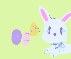 colorful easter bunny and eggs
