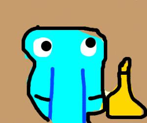 Squidward is eating mini dumbbells