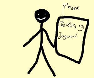 Stickman texting Jaguar