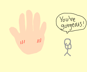 a hand is being complimented.