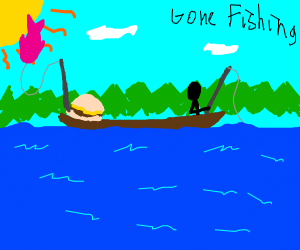 Stick figure and burger fishing