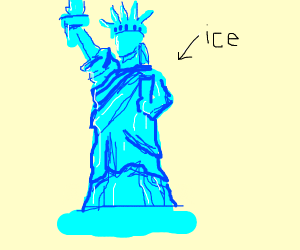 The Statue of Liberty made of ice