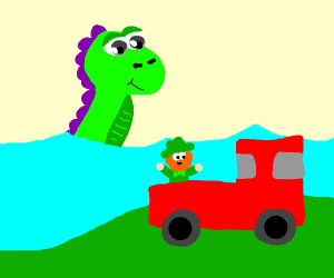 Cute Sea Monster and Leprechaun in a Truck