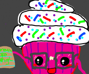 Cupcake with glasses and names of subjects