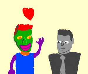 Colorful person loves colorless person