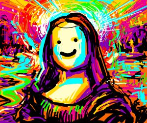 Neon Monalisa (with a rainbow galaxy?)