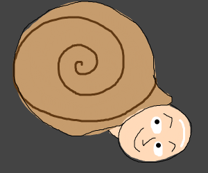 Snail Shell With Bald Guy's Head Popping Out