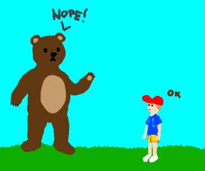 a bear saying no to a boy.