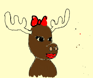 Moose lady poses for less than innocent photo
