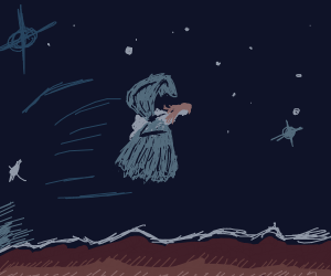Pale girl flies through the stars with wings
