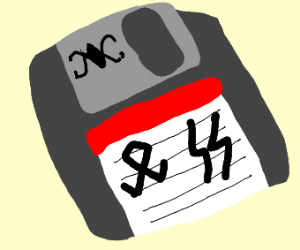 A floppy disk and two Nazi symbols
