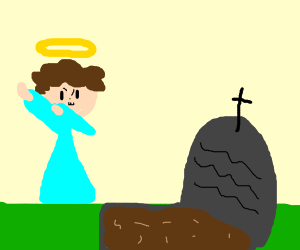 An angel mourning dab tomb stone