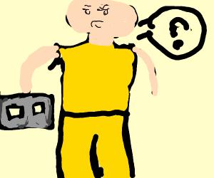 man in yellow holding cinder bloc impressing