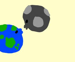 Earth and moon smooching
