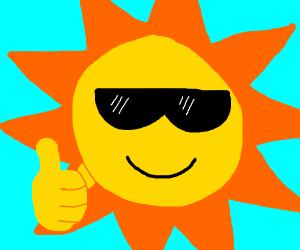 Cool Sun Wearing Sunglasses