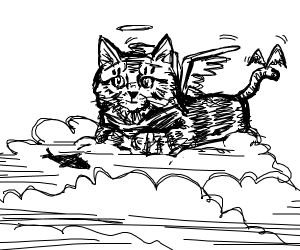 A cat god with two pairs of wings