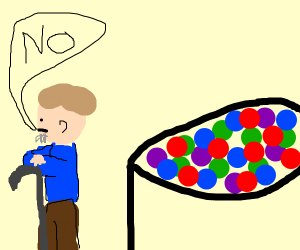 old child shuns the ballpit