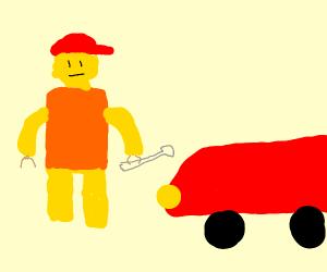 Lego mechanic fixing a car