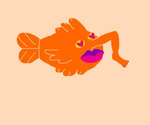 Goldfish got leg. It loves it.
