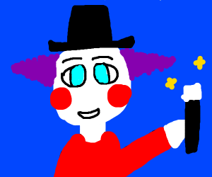 A clown thinks he's a magician
