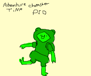 adventure time character in green pio