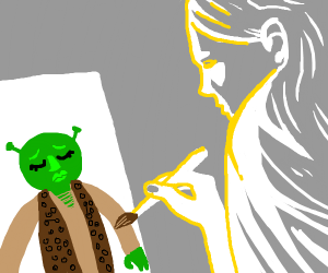 A celestial being paints Shrek