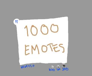 I got 1000 emotes :O